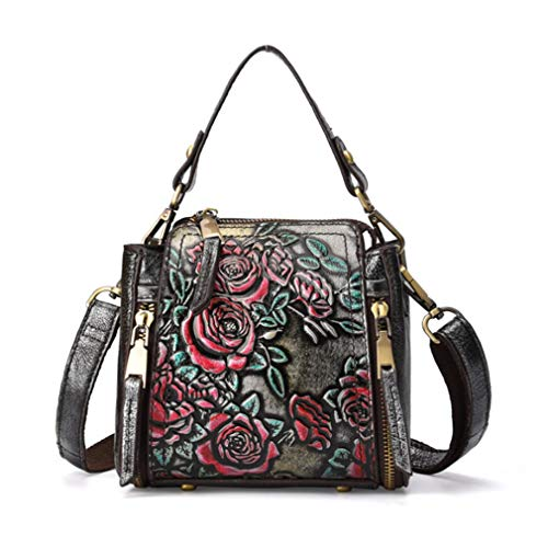 Xieben Handbags for Women Vintage Genuine Leather Tote Bag Womens Purses Casual Crossbody Ladies Designer Satchel Messenger Shoulder Bags Famous Brand Embossed Floral (Silver)