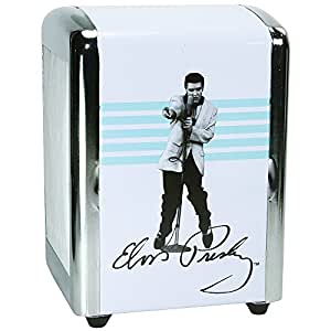 Retro Elvis Presley The King White And Blue Diner Style Metal Napkin Holder
