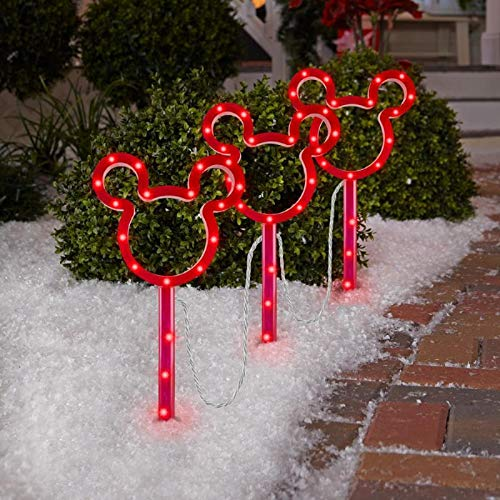 Gemmy Christmas Disney Magic Holiday 3 Mickey Mouse Light Color Changing Pathway Stakes