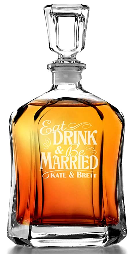 Eat Drink And Be Married Personalized Glass Whiskey Decanter