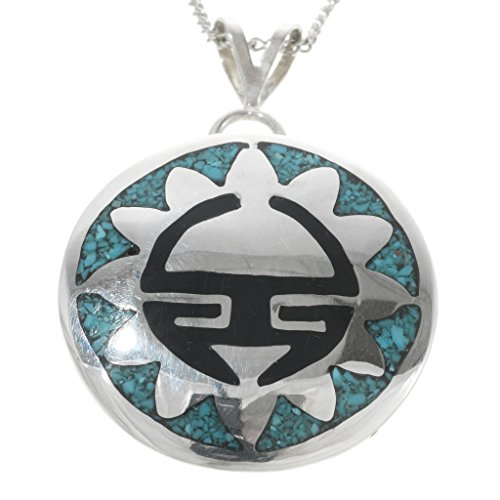 - Navajo Inlaid Silver Turquoise Pendant With Chain Sterling Sunface 0411