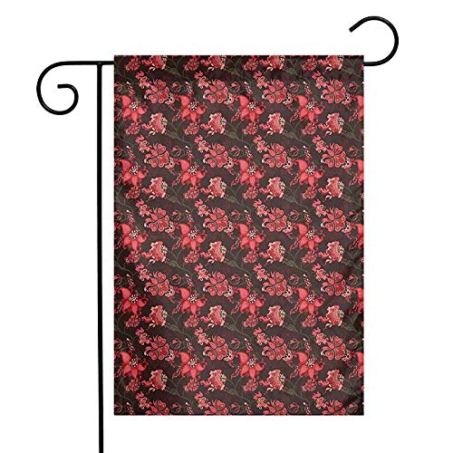 (duommhome Romantic Garden Flag Paisley with Nostalgic Oriental Inspirations Blooming Valentines Day Love Bouquet Decorative Flags for Garden Yard Lawn W12 x L18 Multicolor )