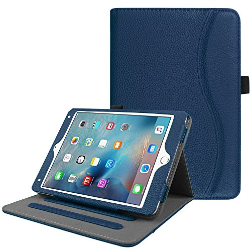 Fintie iPad Mini 4 Case [Corner Protection] - [Multi-Angle Viewing] Folio Smart Stand Protective Cover with Pocket, Supports Auto Wake/Sleep for Apple iPad Mini 4 (2015 Release), Navy