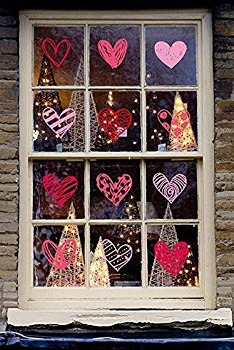 Moon Boat 140 PCS Valentine's Day Window Clings Heart Stickers Decal - Party Decorations Supplies -
