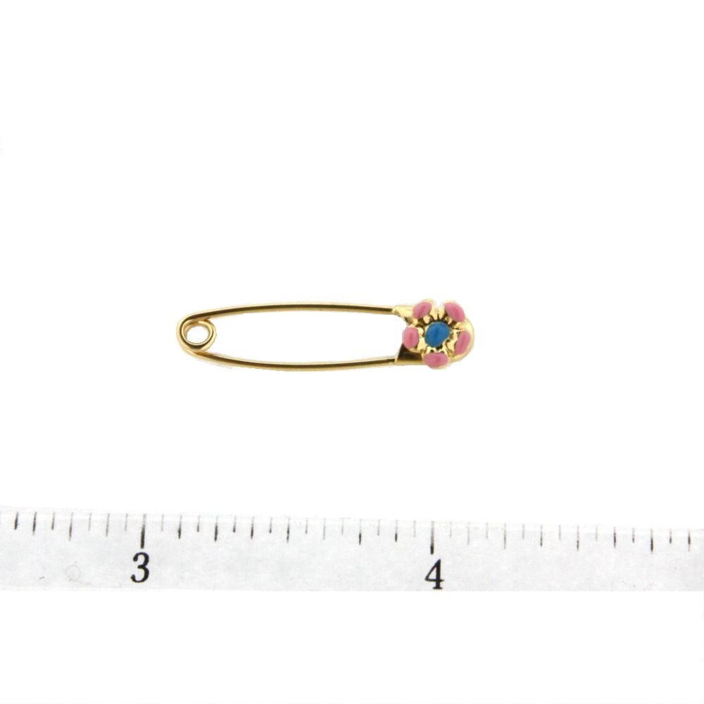 29mm X 5mm 18K YG Safety Pin with Pink and Blue Flower