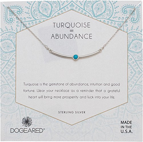 Dogeared Women's Turquoise=Abundance, Curved Bar with Turquoise Gem Stone Necklace Silver One Size