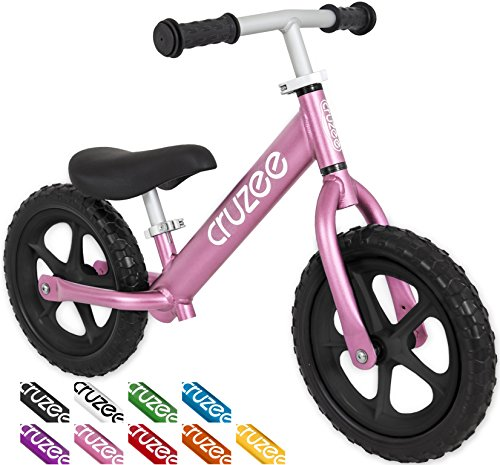 Cruzee UltraLite Balance Bike (4.4 lbs) for Ages 1.5 to 5 Years | Pink BW Best Sport Push Bicycle for 2, 3 & 4 Year Old Boys & Girls Toddlers & Kids Skip Tricycles on the Lightest First Bike