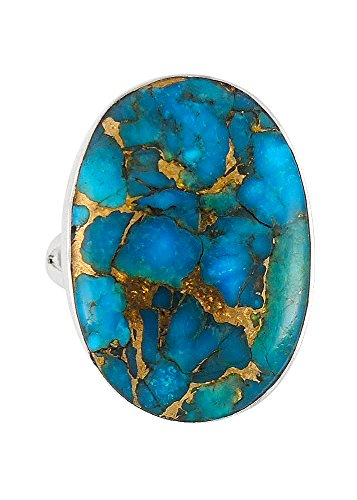 Turquoise Ring Sterling Silver (Pick Color) (Teal/Matrix Turquoise, ()