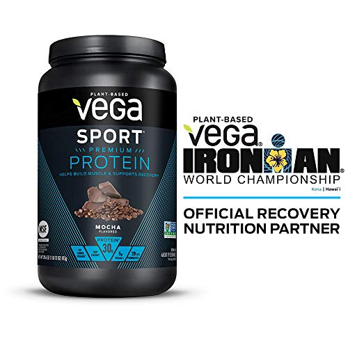 Vega Sport Protein Powder Mocha (19 Servings, 28.6 Ounce) – Plant-Based Vegan Protein Powder, BCAAs, Amino Acid, tart cherry, Non Dairy, Keto-Friendly, Gluten Free,  Non GMO (Packaging May Vary)