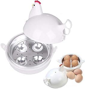 YIYU Egg Cooker, Novelty Stainless Steel Steamer Egg Poachers Chicken Shaped Eggs Boiler 4 Egg Capacity
