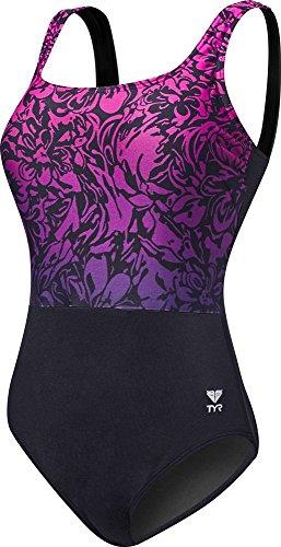 TYR Womens Juniper Aqua Controlfit Swimsuit, 068  Black/Purple, - Proof Swimwear Womens Chlorine