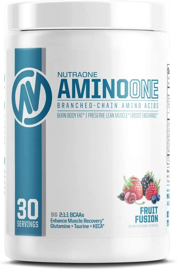 AminoOne BCAA Powder Supplement by NutraOne Branched Chain Amino Acids to Help Fuel and Recover Fruit Fusion – 30 Servings