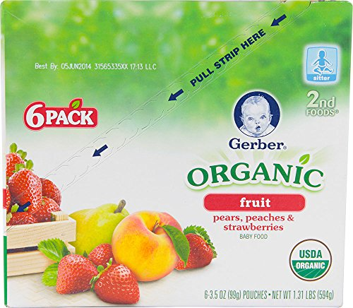Gerber Organic 2nd Foods Purees - Pear Peaches & Strawberries - 3.5 oz - 6 pk