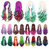 hair dryer looks like gun - LUNIWEI Long Hair Wig Curly Wavy Synthetic Anime Cosplay Party Full Wigs