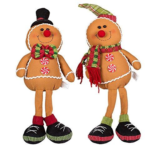 Gingerbread Friends 20 Inch Knit Christmas Dangle Leg Shelf Sitters Set of 2 (Shelf Christmas Sitters)