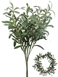 "Bird Fiy 28"" Artificial Olive Plants Branches Fruits Branch Leaves Indoor Outside Home Garden Office Wedding Décor 4PCS"