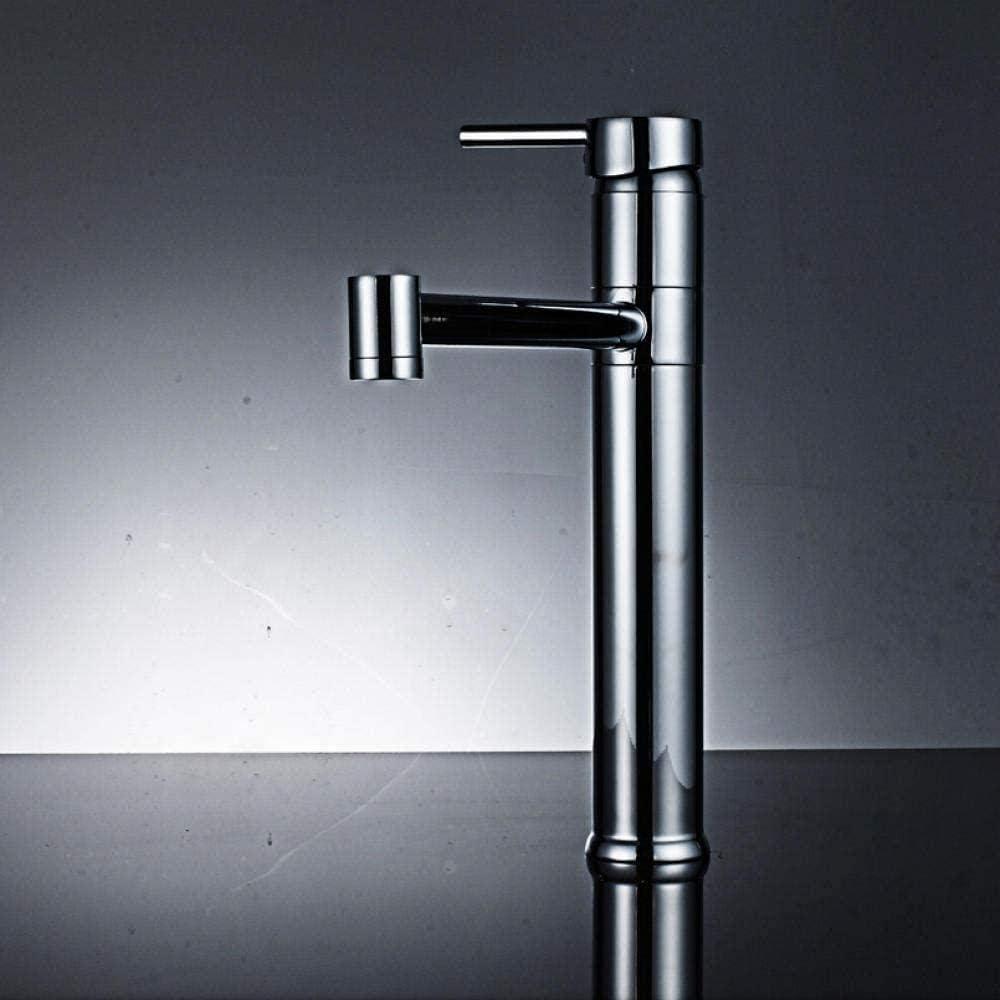 Lavadora de grifería de lavabo tipo grifo, grifo con columna y grifo de lavabo de baño largo grifo de cromo y acabado de níquel cepillado
