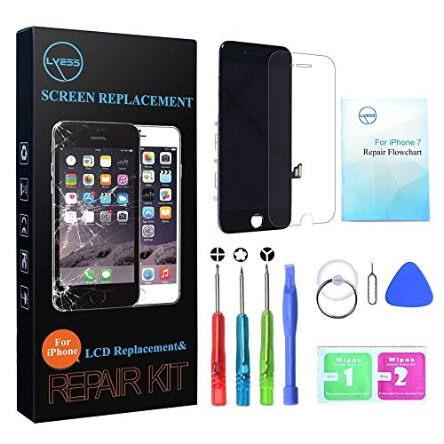 LYESS LCD Touch Screen Digitizer Replacement for iPhone 7 4.7 Inch -Black with 3D Touch Frame Assembly, Repair Tools Kit and (Iphone Replacement Screen)