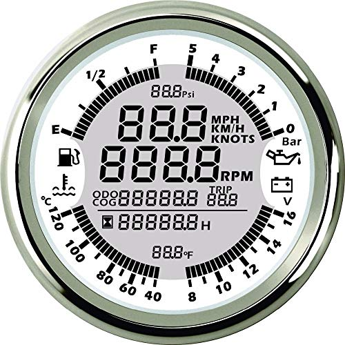 spr DN85mm 6 in 1 Multi-Functional Gauge Meter- GPS Speedometer Tachometer Hour Water Temp Fuel Level Oil Pressure Voltmeter (WS)