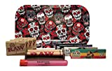 Bundle - 11 Items - Rolling Paper Depot Tray (Skulls), Bob Marley King Size Papers, RAW Pre-Rolled Tips, RAW 110mm Roller and Rolling Paper Depot XL Doobtube (Skulls)