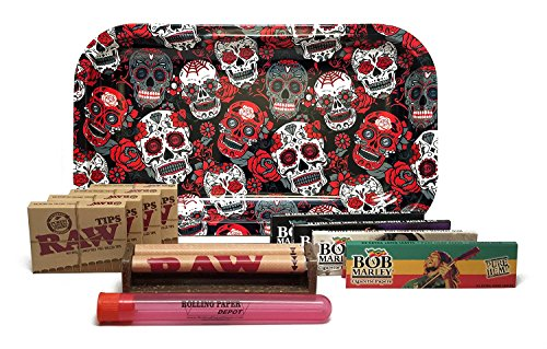 Bundle - 11 Items - Rolling Paper Depot Tray (Skulls), Bob Marley King Size Papers, RAW Pre-Rolled Tips, RAW 110mm Roller and Rolling Paper Depot XL Doobtube (Skulls) by RAW