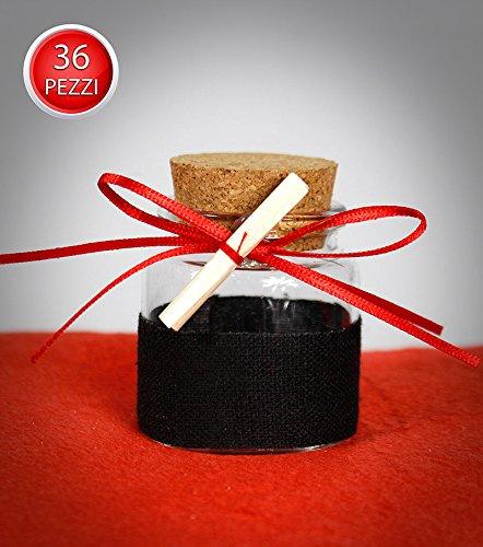 Vetrineinrete® Bomboniere portaconfetti 36 pezzi per la laurea barattolo di vetro  tappo di sughero rosso 92e1f5f81a45