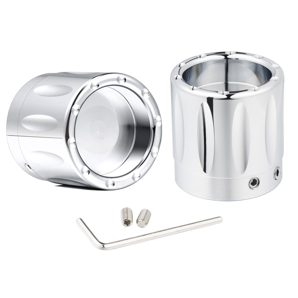 Chrome Pair Edge Cut Front Axle Nut Covers For Harley Electra Glide Fatboy 2008-2017 (chrome) by Amazicha (Image #1)