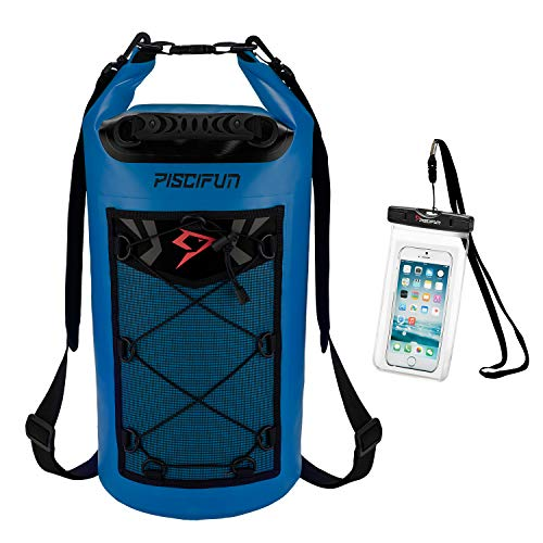 Piscifun Waterproof Dry Bag Backpack Floating Dry Backpack for Water Sports - Fishing Boating Kayaking Surfing Rafting Camping Gifts for Men and Women Free Waterproof Phone Case Sapphire Blue 40L
