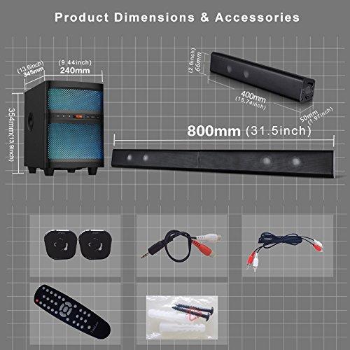 LuguLake TV Sound bar Speaker System with Subwoofer, Bluetooth, Adjustable LED Lights, FM Radio, USB Reader, Composable Floor Speaker by LuguLake (Image #8)