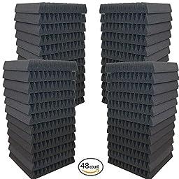 48 Pack- Acoustic Panels Studio Soundproofing Foam Wedges 2\