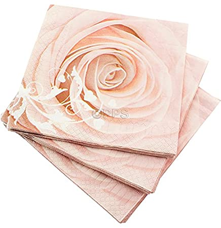 100 LUXURY 3 PLY PINK ROSE PATTERN PAPER NAPKINS - 33cm x 33cm Ideal ...