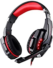 G9000 Stereo Gaming Headset for PS4, PC, Xbox One Controller, Noise Cancelling Over Ear Headphones with Mic, LED Light, Bass Surround, Soft Memory Earmuffs for Laptop Mac Nintendo Switch Games
