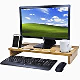 Sorbus Bamboo Computer Monitor Stand Riser with Organizer Tray Slots for Storage — Great for TV Monitor, Laptop, Printer, Cellphone, Office Supplies, Wide Screen Riser for Desktop (Natural Bamboo)