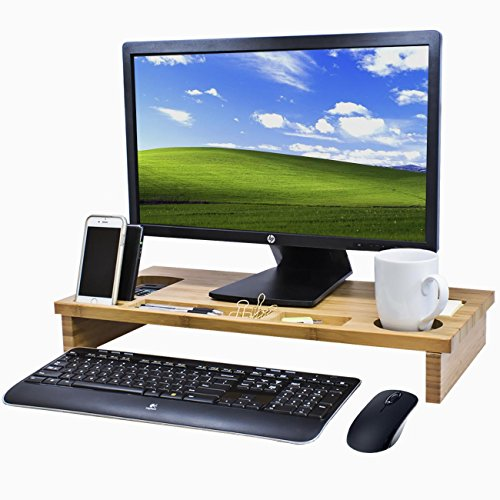 Sorbus Bamboo Monitor Stand Riser with Organizer Tray Slots for Storage — Great for Monitor, Computer, Laptop, Cellphone, Office Supplies, and more (Natural Bamboo)