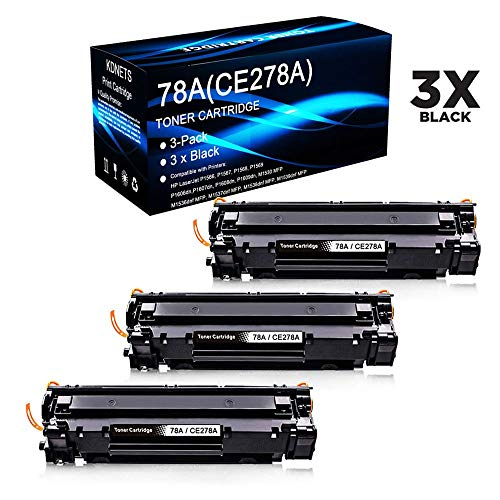 KDNETS Compatible CE278A 78A Laser Printer Toner Cartridge Replacement use with HP Laserjet Pro M1530 MFP Printer (6,300 Pages) - 3 Pack Black
