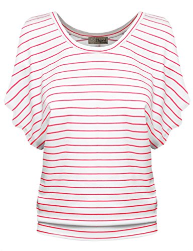 Womens Boat Neck Dolman Top Shirt KT44130X 02280 Ivory/CORA 1X -