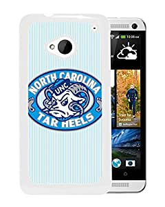 NCAA North Carolina Tar Heels 5 White HTC ONE M7 Protective Phone Cover Case
