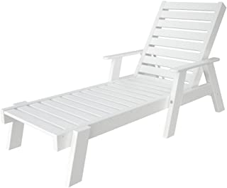 product image for POLYWOOD AC2678-1WH Captain Chaise with Arms, White