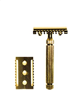 Golden Shave Double Edge Safety Razor with Short Brass Handle   Safety Razor Vintage   Eco Friendly   for Men or for Women   Sustainable and Durable   Saftey Razor  