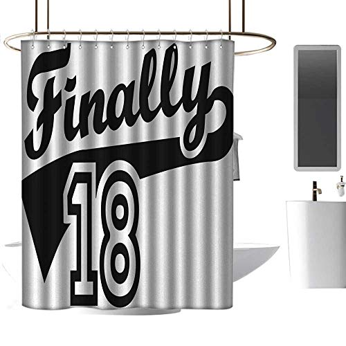 Shower Curtains Rings 18th Birthday,Finally Eighteen Quote Basketball Logo Icon Seemed Sports Movement Image,Black and White,W72 x L96,Shower Curtain for -