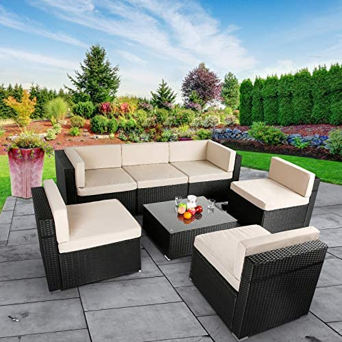 51ib6BVkBYL. AC AECOJOY 7 Piece Patio PE Rattan Wicker Sofa Set, Outdoor Sectional Conversation Furniture Chair Set with Cushions and Table, Black    Product Description