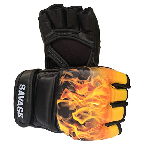 Savage MMA Leather Gloves Half Finger UFC Boxing Sparring Grappling Fight Perfect to Punch Mitts and Bag Training