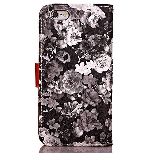 SRY-Bolsa para teléfono móvil Cuadro de tinta de las flores Patrón de la caja de cuero Horizontal Flip Funda de la caja Funda de la carpeta Folio con Marco de fotos para Apple iPhone 6 Plus ( Color :  3