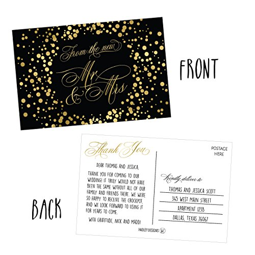 50 4x6 Black & Gold Modern Thank You Postcards Bulk, Cute Blank Thank You Cards From The New Mr. and Mrs. Thanks Note Card Stationery Set For Wedding Gifts, Bridesmaid, Bridal Shower, Engagement Party Photo #3