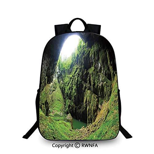 3D printing Customized school bag,Punkevni Cave in Czech Republic European Geological Formation Myst Hole Landscape Backpack Cool Children Bookbag, Green ()