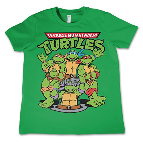 Officially Licensed Merchandise TMNT Group Unisex Kids T Shirts - Green 3/4 -