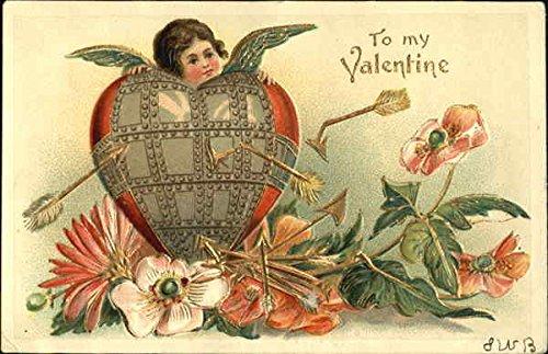 Armor-clad heart and cupid Cupid Original Vintage Postcard