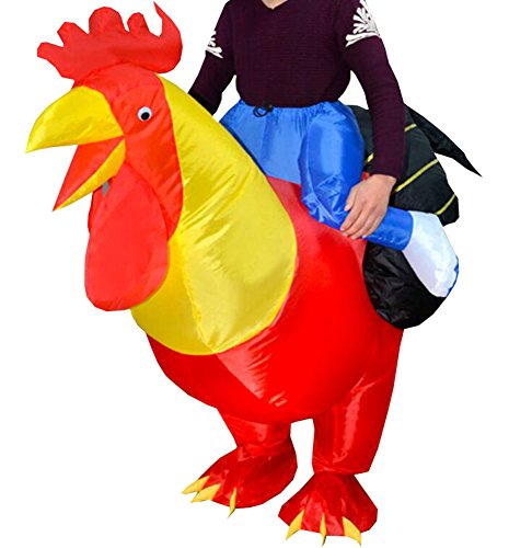 [Funny Adult Inflatable Costume Suit Ride Me Inflatable Animal Fancy Dress Jumpsuit,Inflatable Chicken] (Red Jumpsuit Costume)