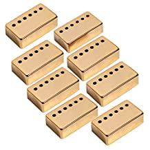 Kmise A7535 8 Piece Neck Pickup Cover 50mm Pole Spacing for Gibson Les Paul Guitar Parts Replacement, Gold
