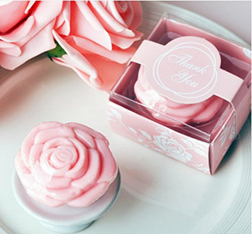 AiXiAng Cute Mini 24 Pieces Handmade Scented Soap Guests Keepsake Gift for Wedding Gift Baby Shower Favors, Parties, Thanksgiving Gifts (Pink Rose Sty…